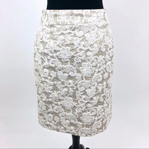 Banana Republic Skirt sz 6 Petite Lace Cream